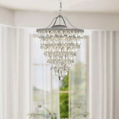 Conical 4-Light Crystal Chandelier Finish: Matte Silver
