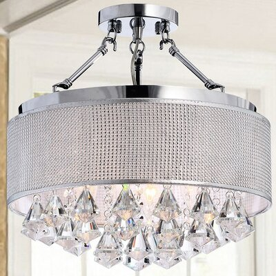 Yessica 4-Light Semi Flush Mount Shade Color: Silver