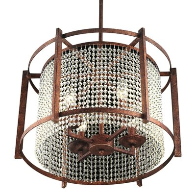 Mcmann 4-Light Crystal Drum Pendant