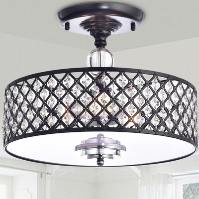 Mclamb 3-Light Semi Flush Mount Finish: Antique Black