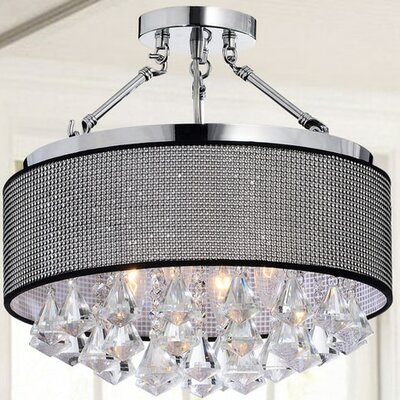 Mcleod 4-Light Semi Flush Mount Shade Color: Black
