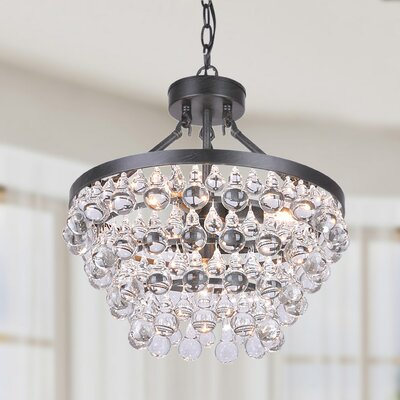 5-light Crystal Mini Chandelier Finish: Antique Black