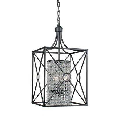 Darcella Crystal Beaded Iron 3-Light Foyer Pendant
