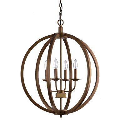 Brook Hollow Metal Orb 4-Light Globe Pendant