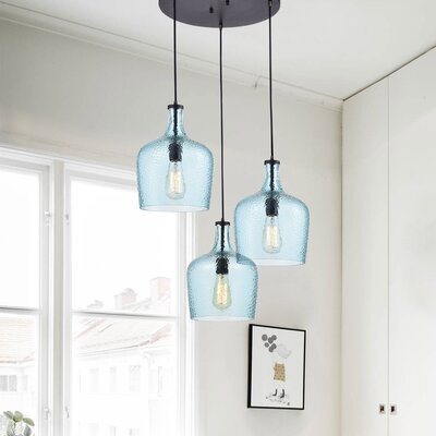 Psyche 3-Light Cluster Pendant Finish: Blue