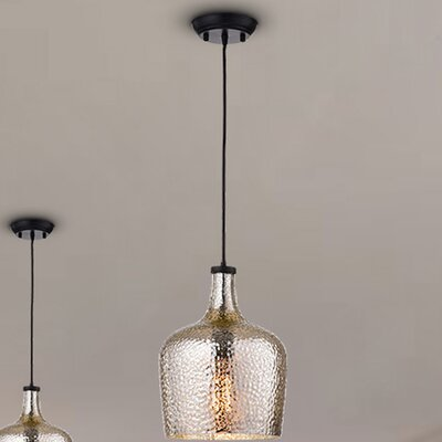 Psyche 1-Light Glass Shade Mini Pendant Finish: Silver