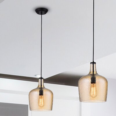 Psyche 1-Light Glass Shade Mini Pendant Finish: Tawny