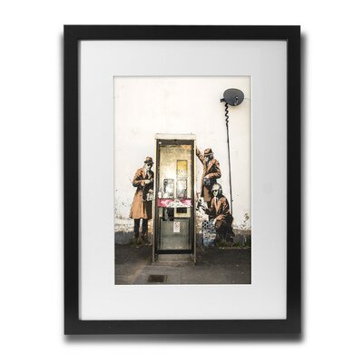 PingoWorld 'Phone Booth Spies' by Banksy Framed Graphic Art BSY1019-30F