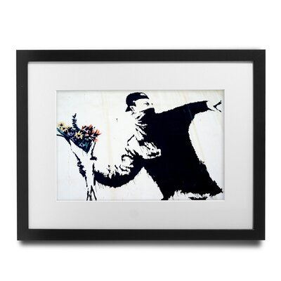 PingoWorld 'Flower Thrower' by Banksy Framed Graphic Art BSY1007-30F