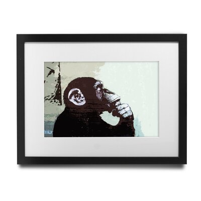 PingoWorld 'The Thinker Monkey' by Banksy Framed Graphic Art BSY1073-1517