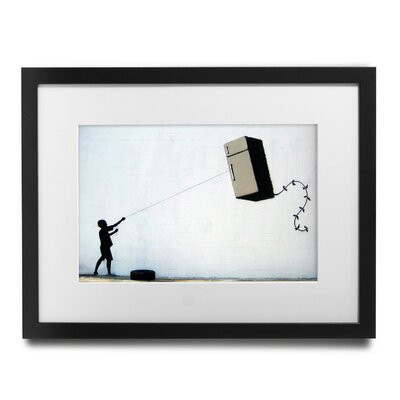 "'Fridge Kite' by Banksy Framed Graphic Art Size: 23"" H x 27"" W x 1.5"" D"