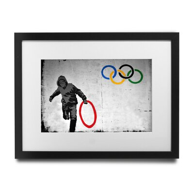 PingoWorld 'Stolen Olympic Rings' by Banksy Framed Graphic Art BSY1051-1517