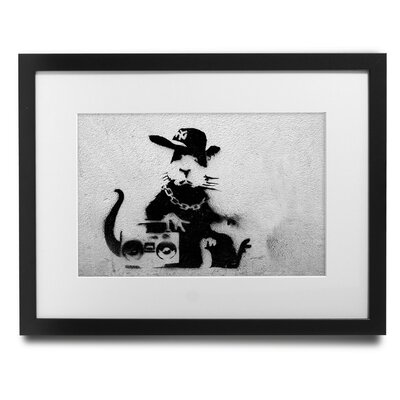 'Boom Box Rat' by Banksy Framed Graphic Art BSY1045-30F