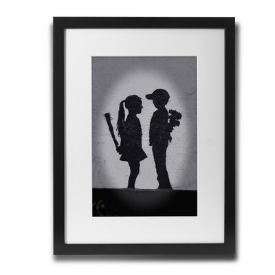 PingoWorld 'Boy Meets Girl' by Banksy Framed Graphic Art BSY1057-30F