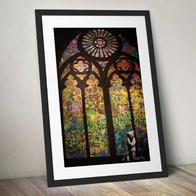 """'Stained Glass Cathedral' by Banksy Framed Graphic Art Size: 17"""" H x 15"""" W x 1.5"""" D, Format: Black Framed Wood, Matte Color: Light Gray BSY1047-1517"""