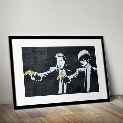 PingoWorld 'Pulp Fiction' by Banksy Framed Graphic Art BSY1023-30F