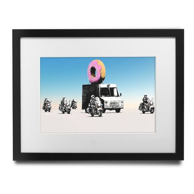 "'Donut Police' Escort by Banksy Framed Graphic Art Size: 29"" H x 35"" W x 1.5"" D BSY1082-2935"
