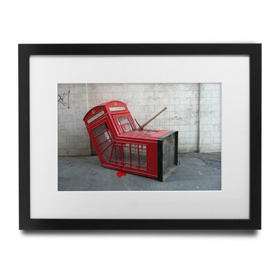 """'London Phone Booth' by Banksy Framed Graphic Art Size: 29"""" H x 35"""" W x 1.5"""" D, Format: Black Framed Wood, Matte Color: White BSY1097-2935"""