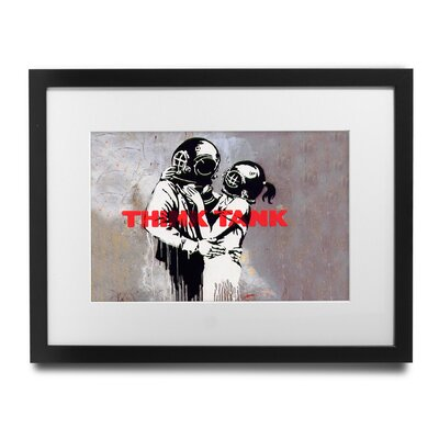PingoWorld 'Think Tank' by Banksy Framed Graphic Art BSY1094-1517