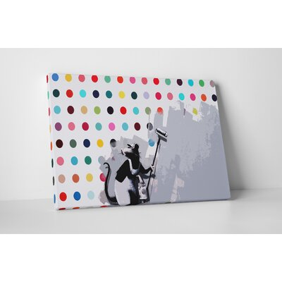 "Hirst Spots Rat Vandal"" by Banksy Painting Print on Wrapped Canvas BSY1054-30"