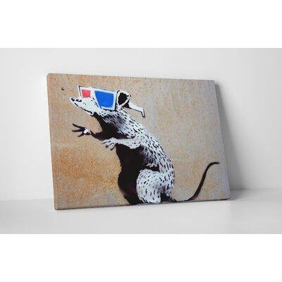 """'3D Glasses Rat' by Banksy Framed Graphic Art Size: 16"""" H x 20"""" W x 1.5"""" D, Format: Wrapped Canvas, Matte Color: No Matte BSY1062-B20"""