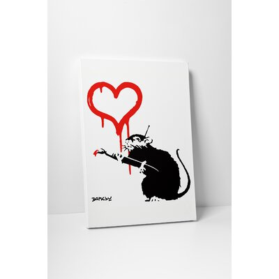 "Manipulated Rat"" by Banksy Painting Print on Wrapped Canvas BSY1088-30"