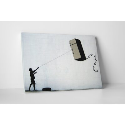 """Fridge Kite"" by Banksy Painting Print on Wrapped Canvas Size: 16"" H x 20"" W x 0.69"" D"