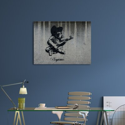 """'Playtime' by Banksy Framed Graphic Art Size: 16"""" H x 20"""" W x 0.69"""" D, Format: Wrapped Canvas, Matte Color: No Matte BSY1032-20"""