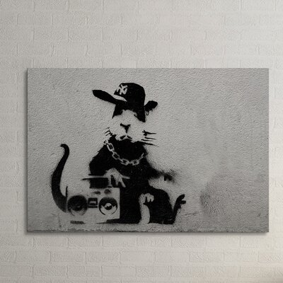 'Thug Rat' by Banksy Painting Print on Wrapped Canvas BSY1045-20