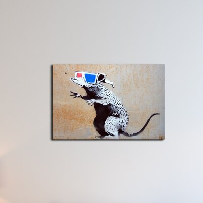 'Rat with 3D Glasses' by Banksy Painting Print on Wrapped Canvas BSY1062-20