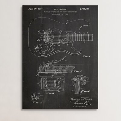 "Patent Prints ""Fender Electric Guitar Pickups"" Graphic Art on Wrapped Canvas COL1020-20"