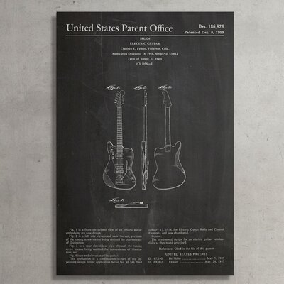 "Patent Prints ""Fender Electric Guitar"" Graphic Art on Wrapped Canvas COL1023-20"