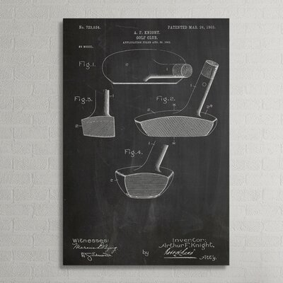 """Patent Prints """"Golf Putter"""" Graphic Art on Wrapped Canvas COL1031-20"""
