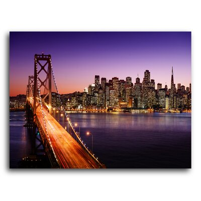City Skylines 'San Francisco Oakland Bay Bridge' Photographic Print on Metal Size: 11