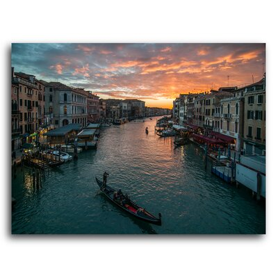 City Skylines 'Venice Italy at Sunset' Photographic Print on Metal Size: 11