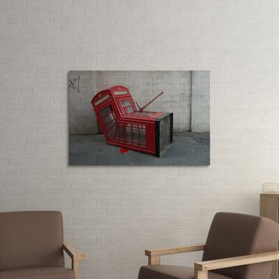 """'London Phone Booth' by Banksy Framed Graphic Art Size: 16"""" H x 20"""" W x 0.69"""" D, Format: Wrapped Canvas, Matte Color: No Matte BSY1097-20"""
