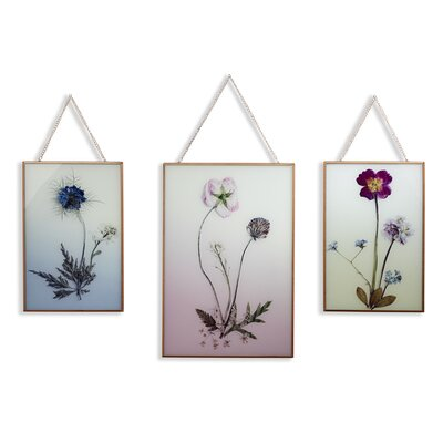 'Copper Wild Flowers' 3 Piece Photographic Print Set on Glass