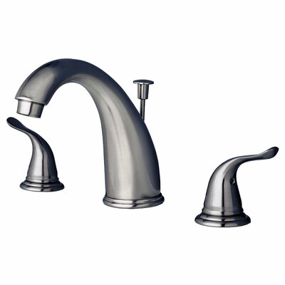 Widespread Lavatory Faucet Double Handle with Drain Assembly Finish: Brushed Nickel