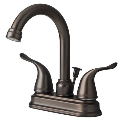 Centerset Bathroom Faucet Double Handle with Drain Assembly Finish: Brushed bronze