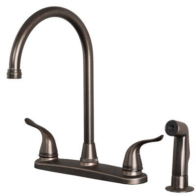 Double Handle Deck Mounted Kitchen Faucet with Side Spray Finish: Brushed bronze