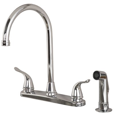 Double Handle Deck Mounted Kitchen Faucet with Side Spray Finish: Chrome