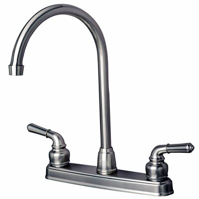 RV Mobile Home Double Handle Standard Kitchen Faucet Finish: Stainless Steel