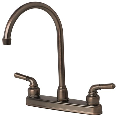 RV Mobile Home Double Handle Kitchen Faucet Finish: Brushed bronze