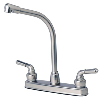 RV Mobile Home Double Handle Kitchen Faucet Finish: Stainless Steel
