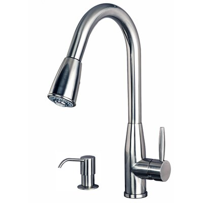 Single Handle Pull Down Standard Kitchen Faucet with Soap Dispenser Finish: Stainless Steel