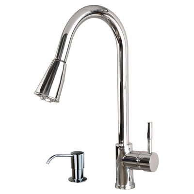 Single Handle Pull Down Standard Kitchen Faucet with Soap Dispenser Finish: Chrome