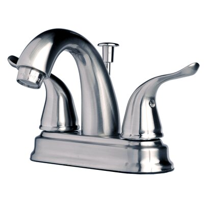 Centerset�Bathroom Sink Faucet Double Handle with Drain Assembly Finish: Brushed Nickel