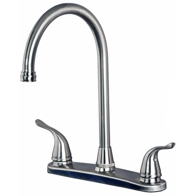 High Arc Double Handle Kitchen Faucet Finish: Stainless Steel