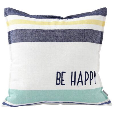 Be Happy Cotton Throw Pillow