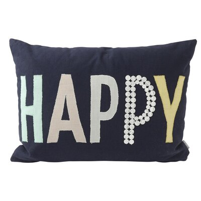 Happy Cotton Throw Pillow